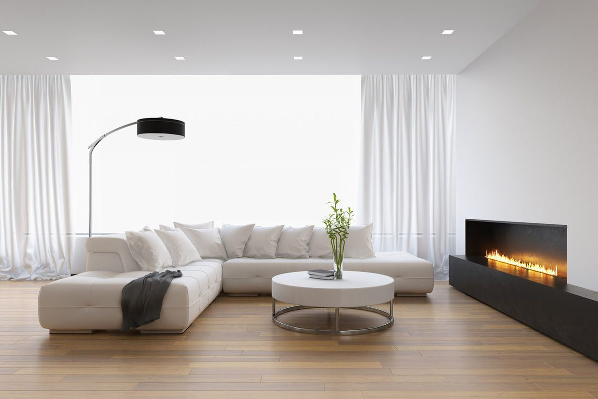 Light gray colored living room with nible wooden laminated floor
