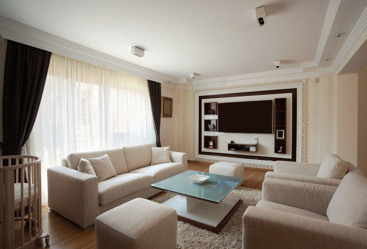 Living Room Ceiling Best Fresh Design Ideas. White top and windows for casual decorated room with mild beige furniture