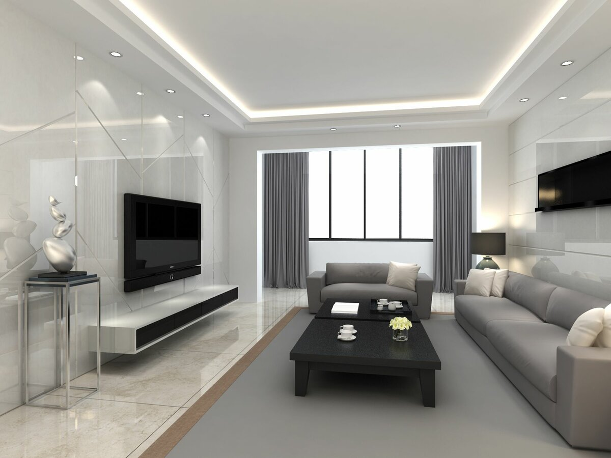 Living Room Ceiling Best Fresh Design Ideas. Strict limear design for high-tech room with gray curtains and carpet
