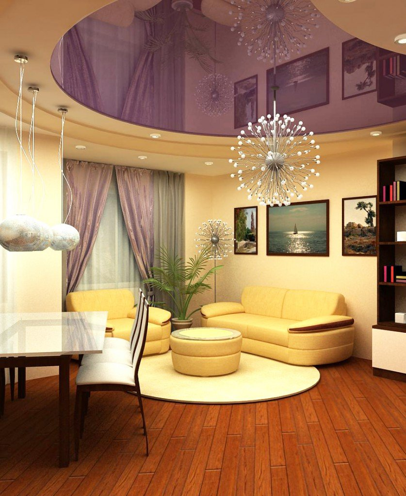 Living Room Ceiling Best Fresh Design Ideas. Classic design with rounded forms, purple ceiling and yellow furniture