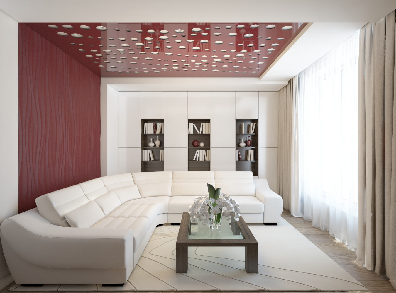 Red wall and ceiling design to revive white idyll of the living room with huge sofa