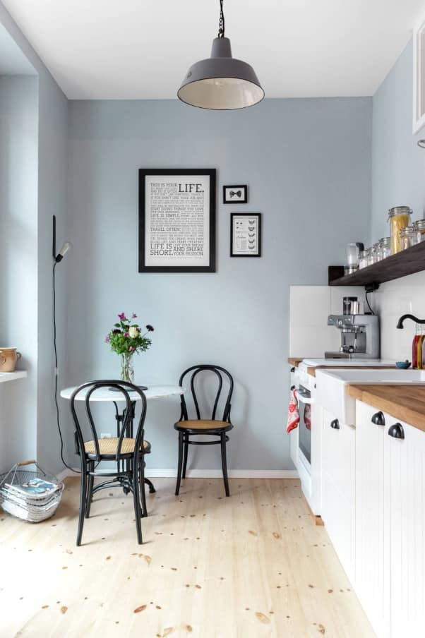 How to Make the Most of Your Small Kitchen. Revamp of the Classics with gray walls and figured black chairs