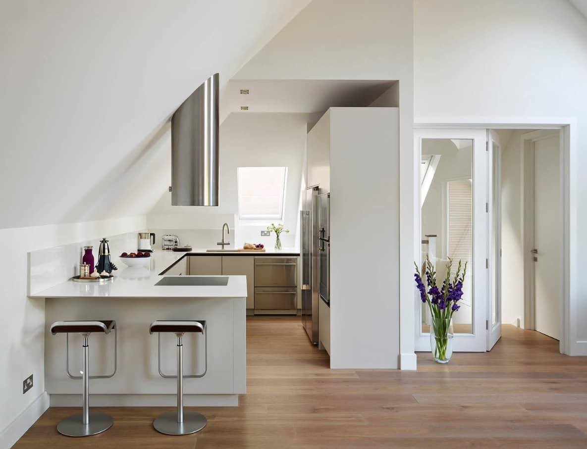 How to Make the Most of Your Small Kitchen. Modern design in minimalist tech style with white painted walls and furniture