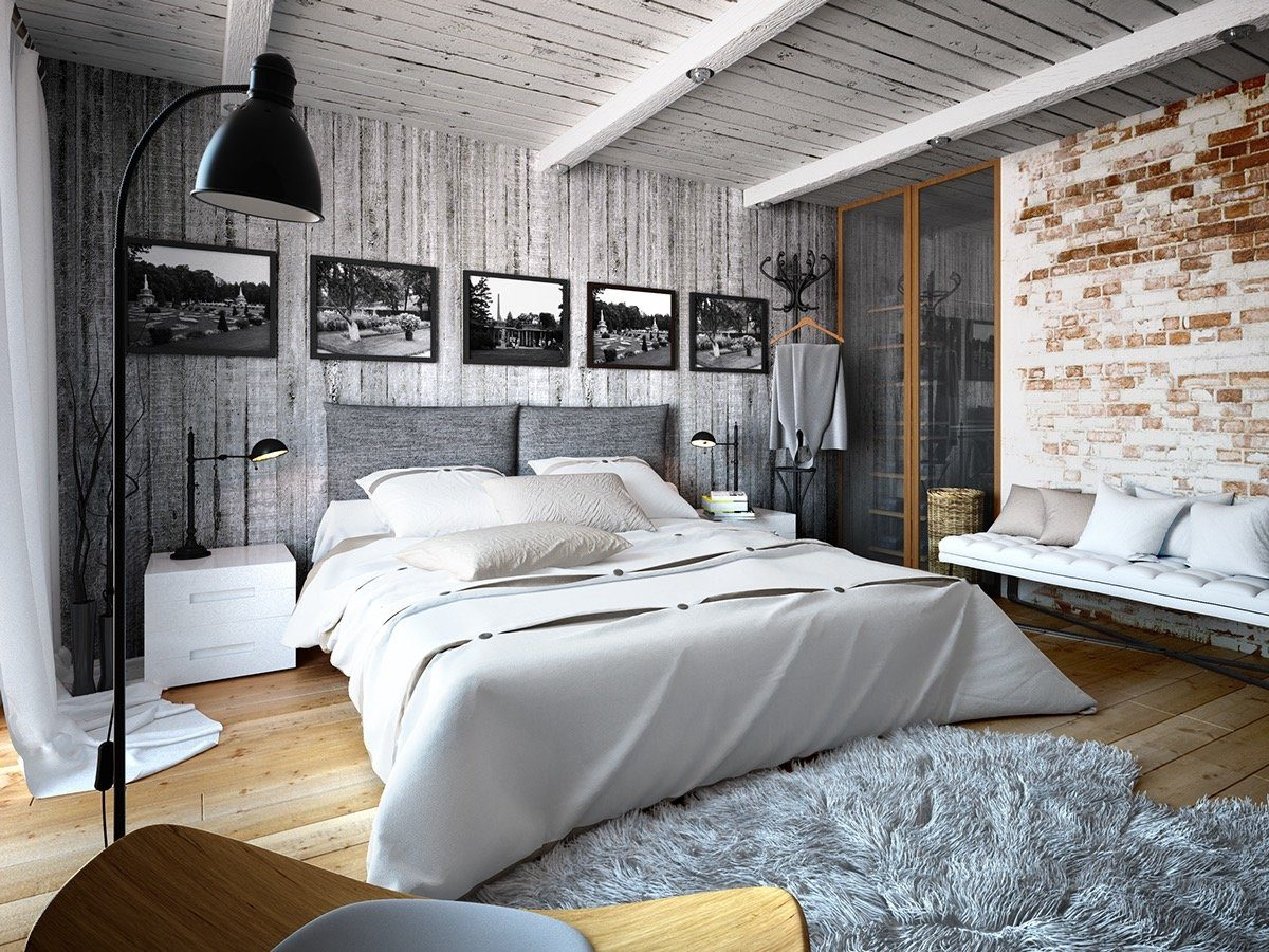White painted wooden top and brickwork walls of the loft bedroom