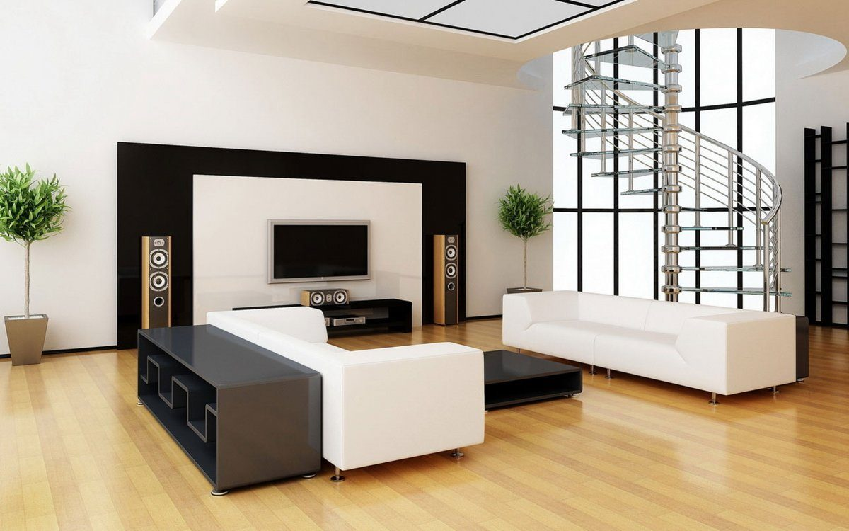 Modern minimalist living room arrangement with contrasting black additions