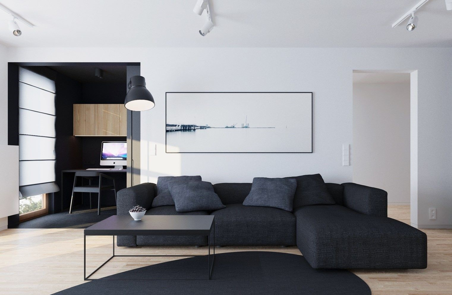 Minimalism for Living Room: Laconic Practical Design. Simple yet effective interior decoration with contrasting