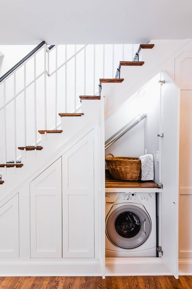 Multiple cabinets for different purposes under the stairs