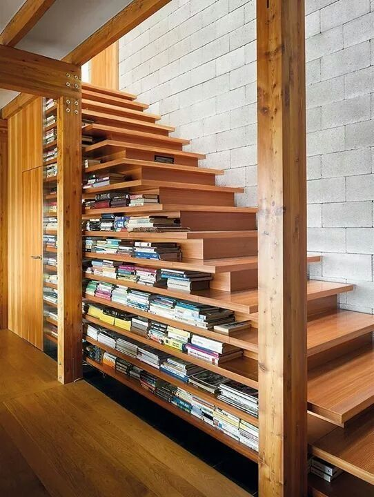Bookshelf at the staircase
