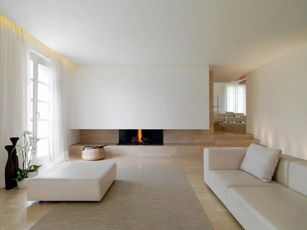 Minimalism for Living Room: Laconic Practical Design. White pastel idyll for modern room with smooth lined furniture