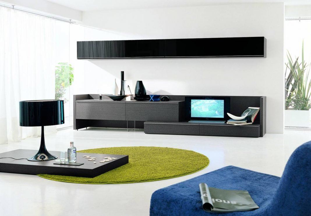 Minimalism for Living Room: Laconic Practical Design. Modular furniture with cintrasting glossy black facades