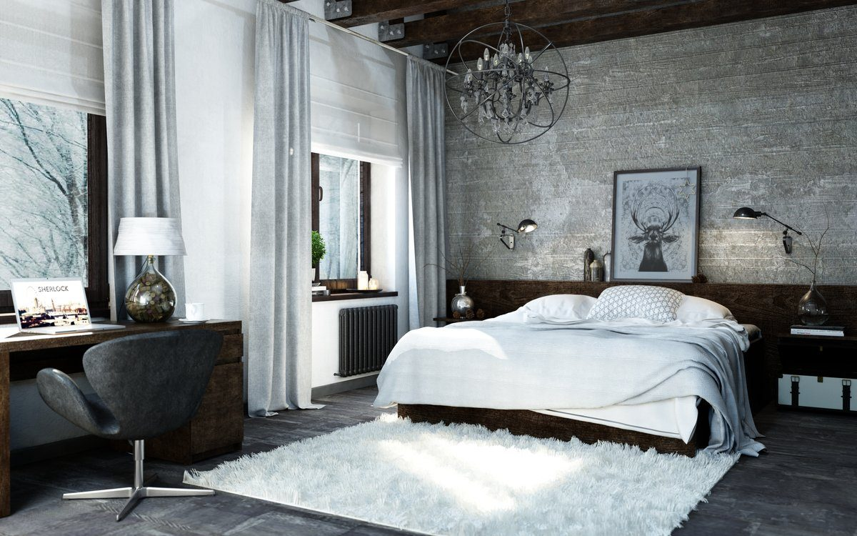 Chic royal bedroom interior in noble wooden finish and white cotton and fur filling