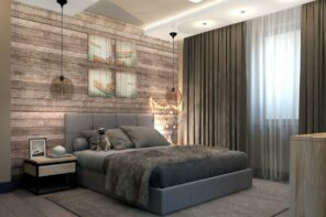 Loft Style Bedroom Best Design Examples with Photos. Great idea with wooden headboard and the backlight