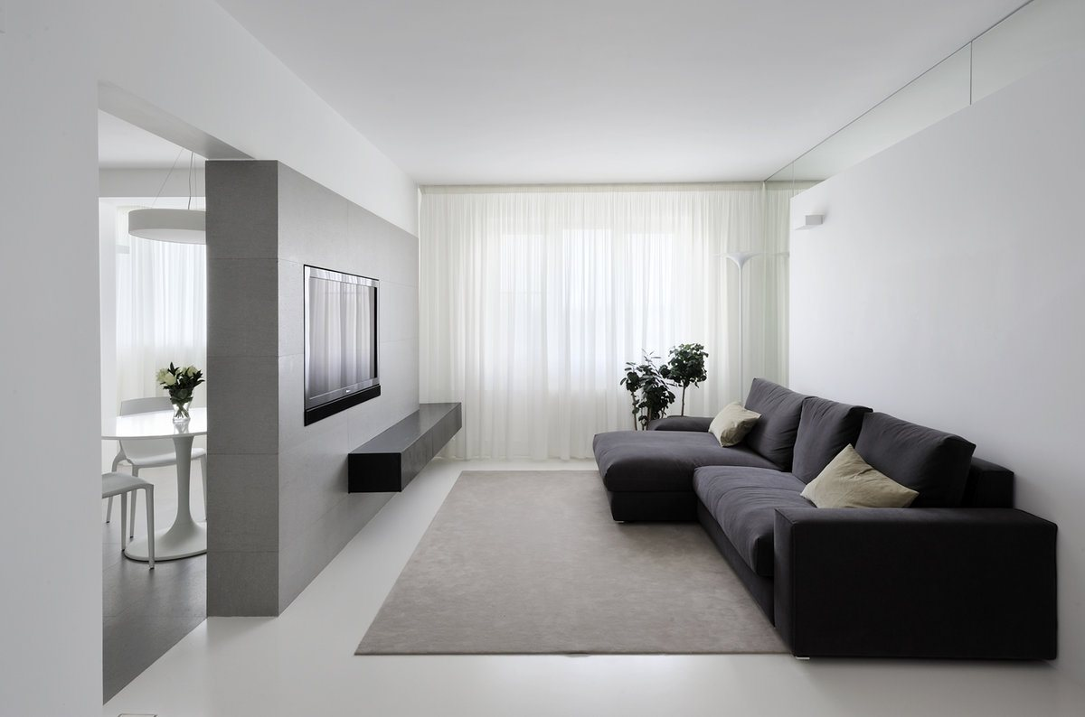 Minimalism for Living Room: Laconic Practical Design. White and black interior