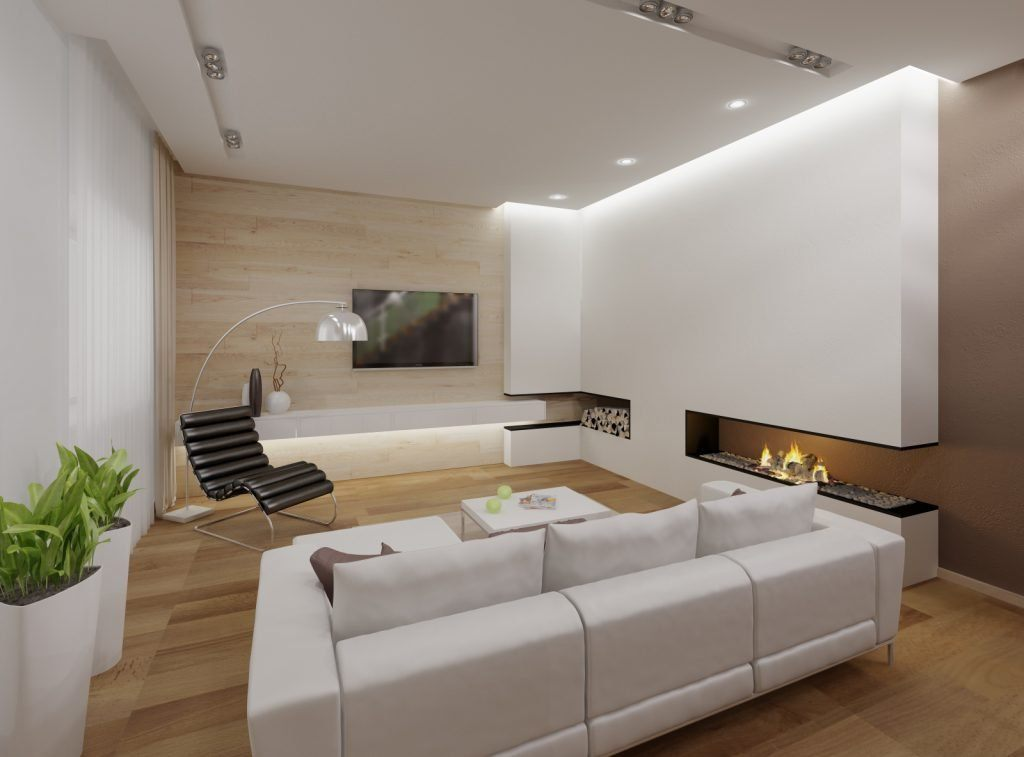 Minimalism for Living Room: Laconic Practical Design. Unusual modern designed room with complex layout, LED lighting and built-in fireplace