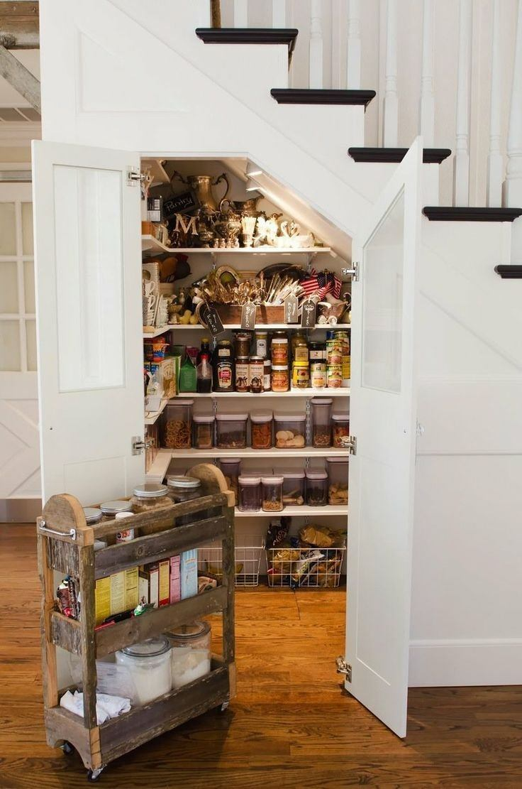 Storage under the Staircase: Different Ideas and Functional Spaces. Pantry with lighting inside