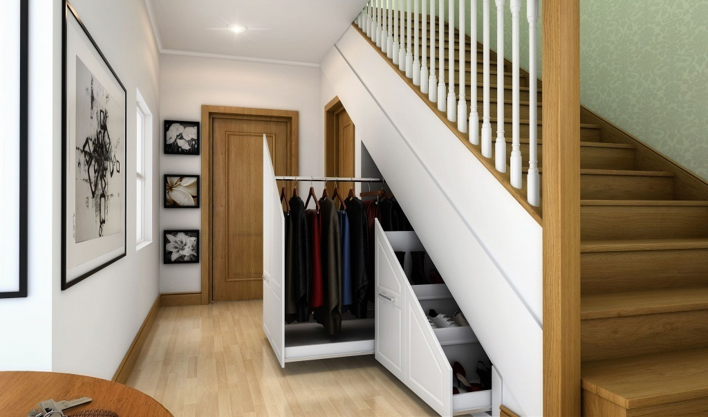"""Storage under the Staircase: Different Ideas and Functional Spaces. Retractable compartments of the """"understairs""""cabinet"""