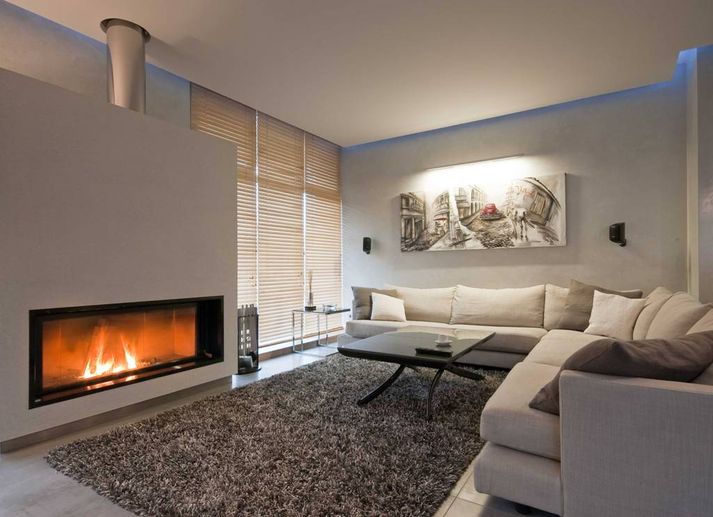 Homey atmosphere in the living romo with fluffy gray rug and electric fireplace