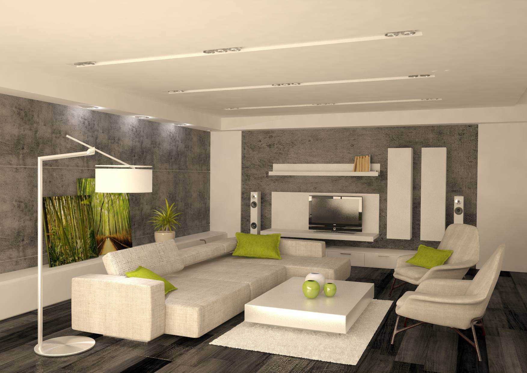 Boxed living room design with leather furniture and walllpaper on the walls