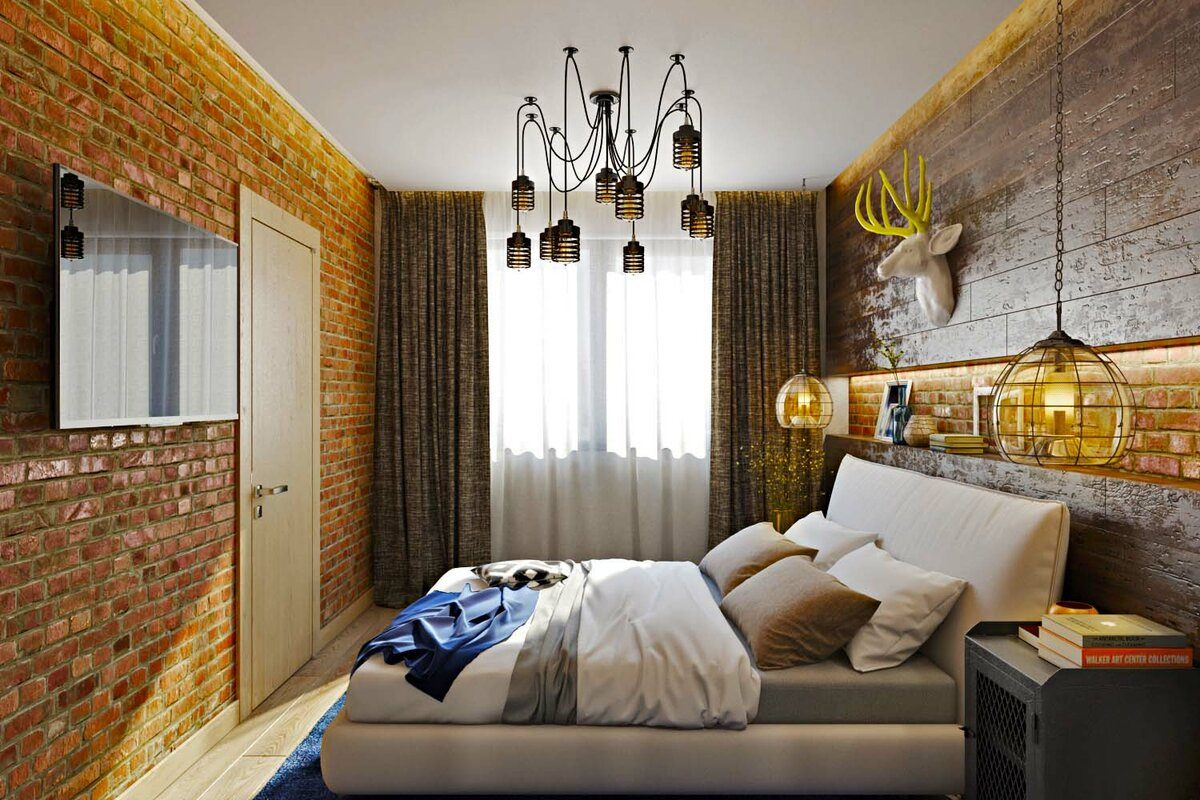 Loft Style Bedroom Best Design Examples with Photos. Platfotm bed and spider chandelier to compliment joyful room with yellow walls