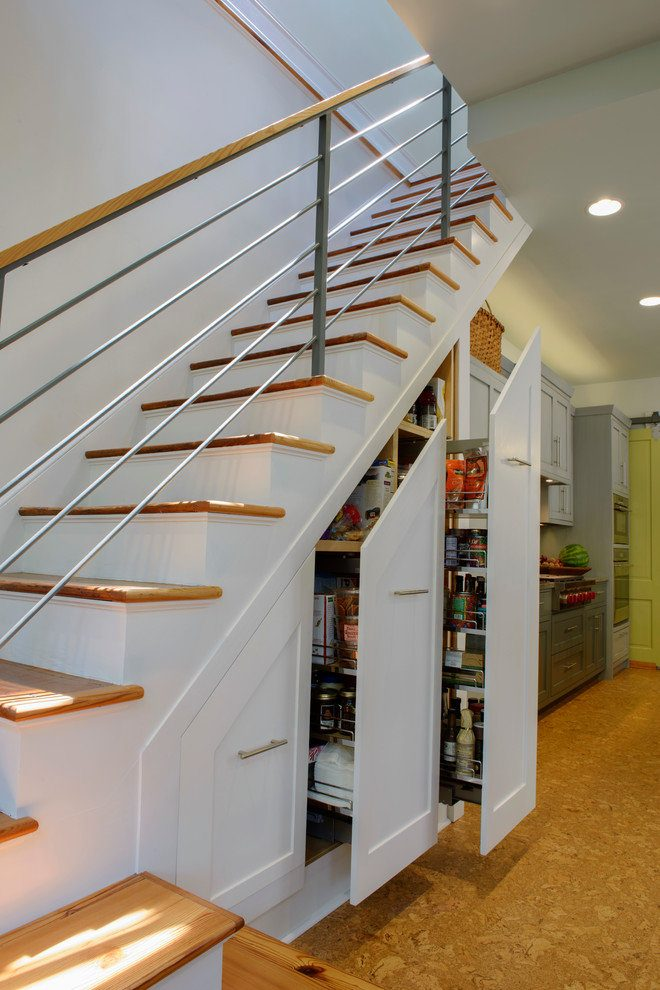 Storage under the Staircase: Different Ideas and Functional Spaces. Retractable high drawers