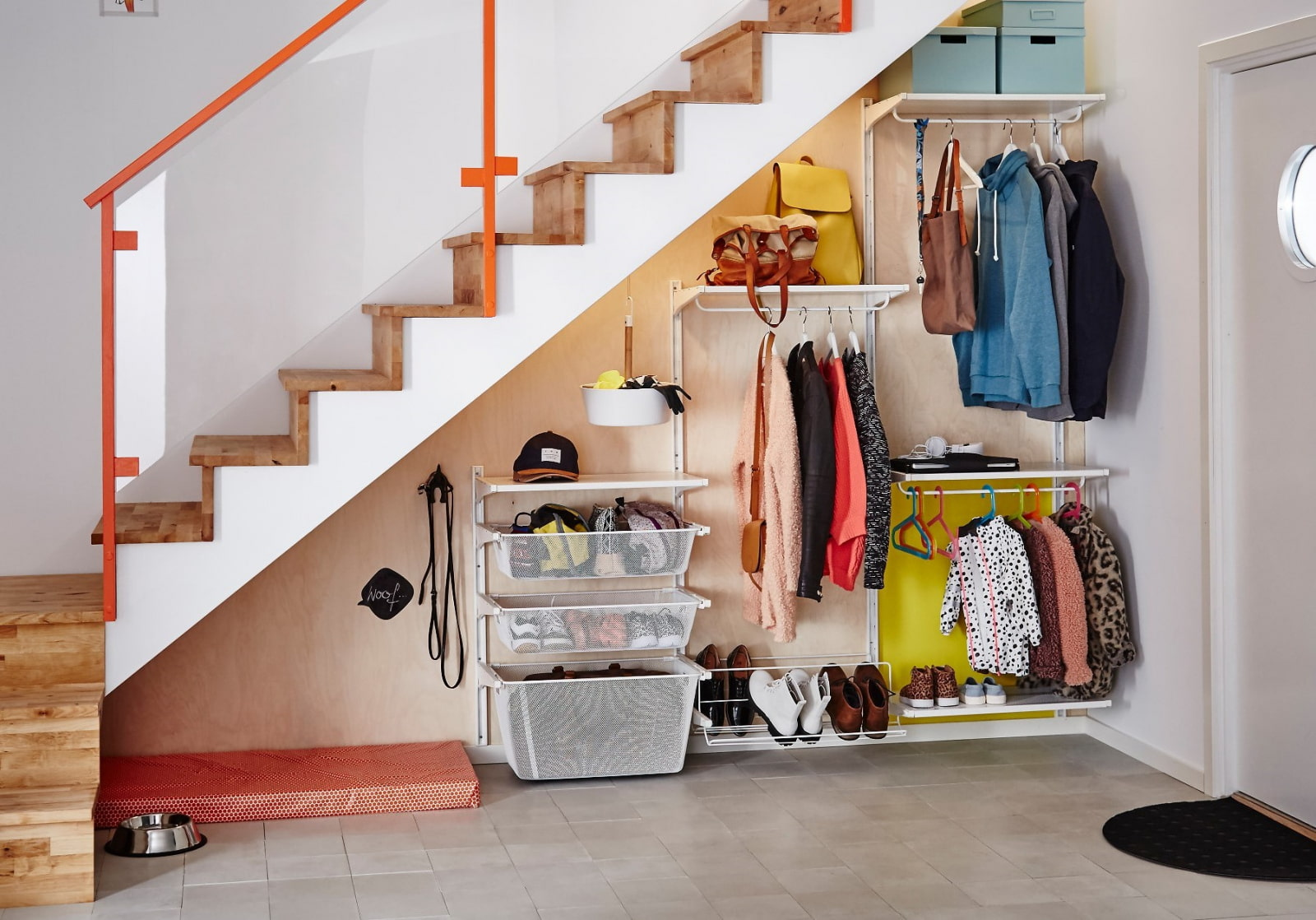 Storage under the Staircase: Different Ideas and Functional Spaces. Fresh cheeky colorful design of the hall space