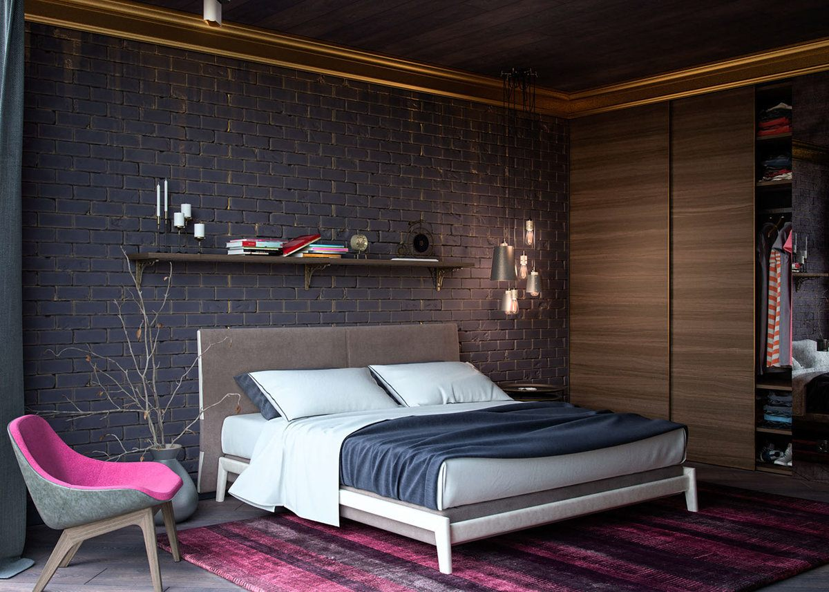 Black headboard wall and white bed