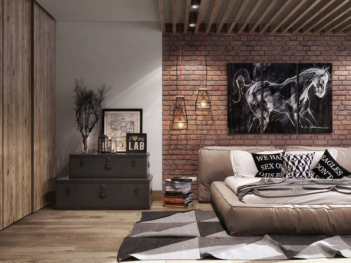 Exposed ceiling beams, zoned into a couple of parts bedroom with brickwork accent wall