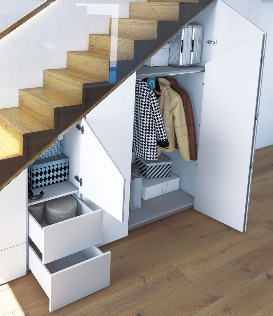 Storage under the Staircase: Different Ideas and Functional Spaces. Simple design of functional space in the hall