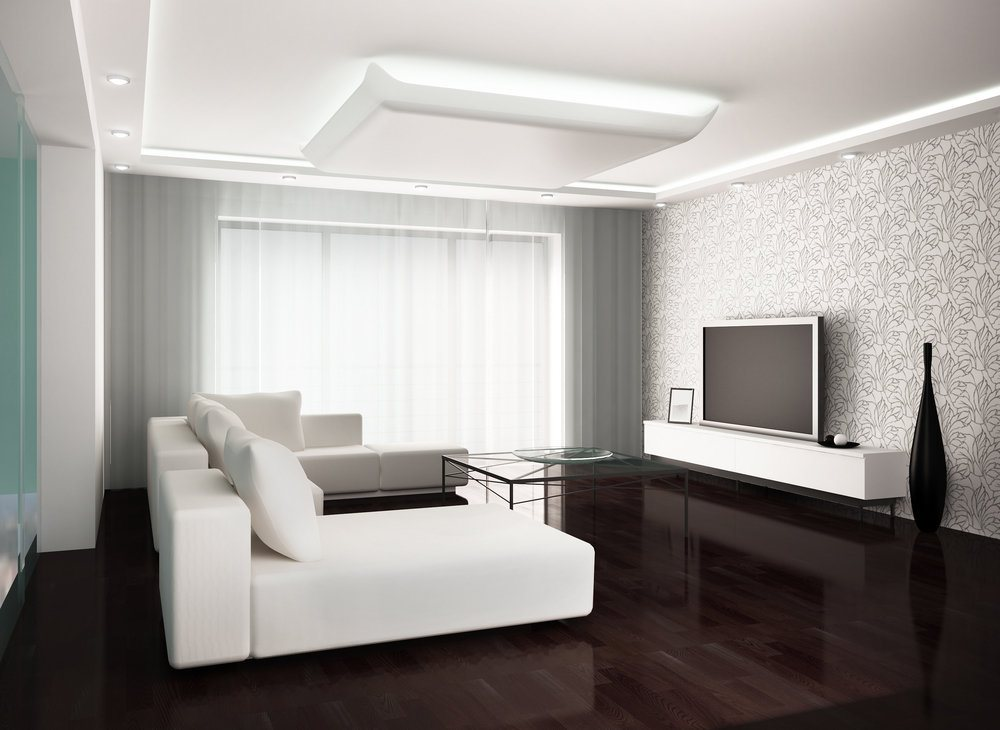 Dark floor and light top of the living room with large white sofa