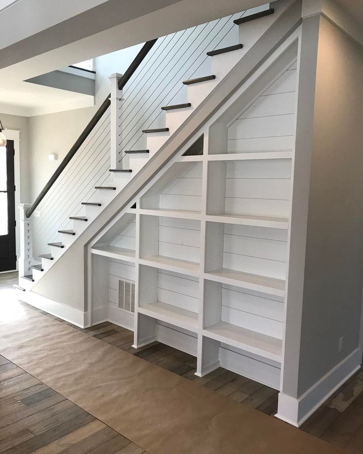 Storage under the Staircase: Different Ideas and Functional Spaces. Great idea of open shelves