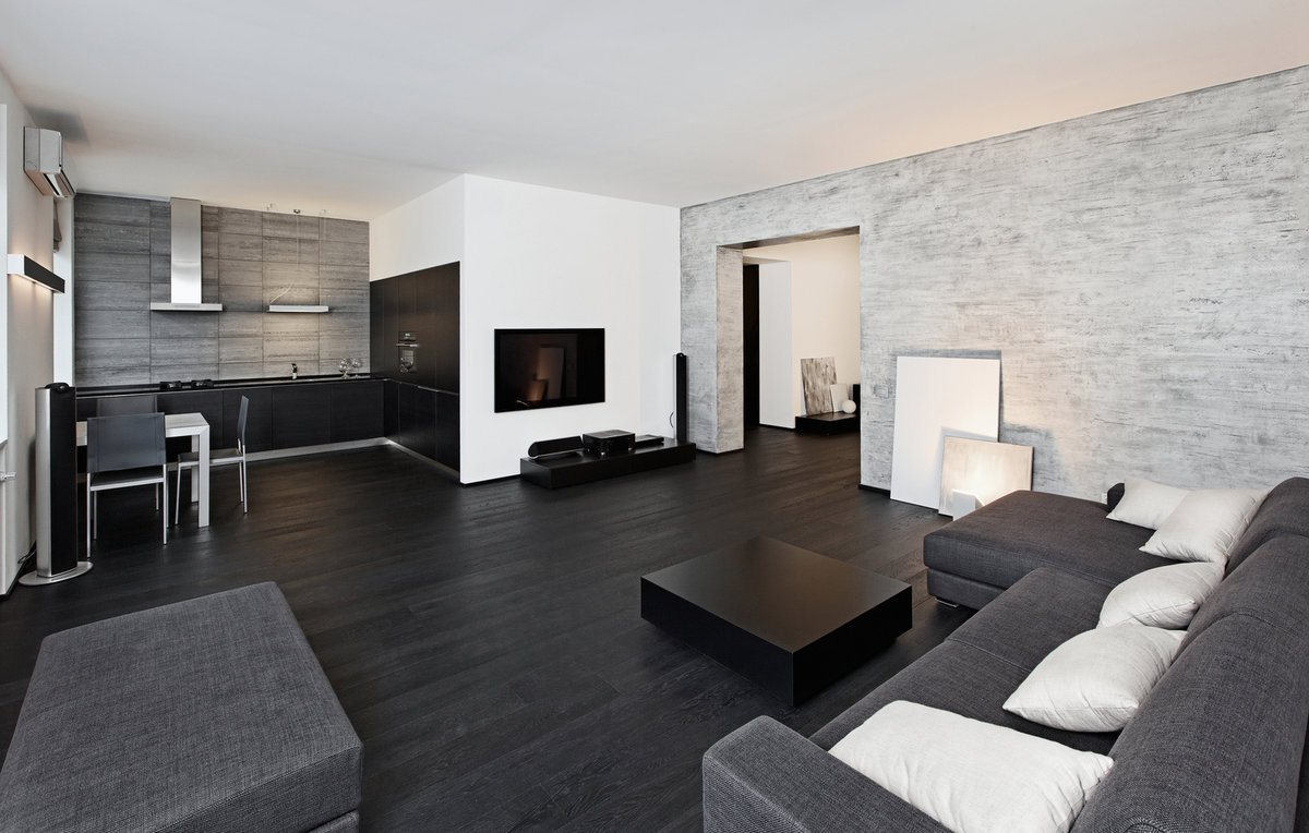 Black floor and furniture elements and white ceiling with walls