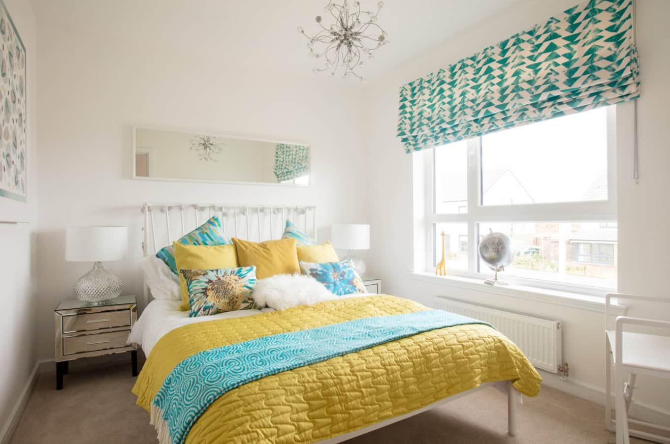 4 Must-Have Bed Coverings You Cannot Miss. Yellow coverlet for the modern bedroom interior in white with floral motif on turquoise roller blinds