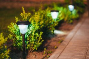 How To Design Your Landscape With Solar Lights. Ground sticking garden lights