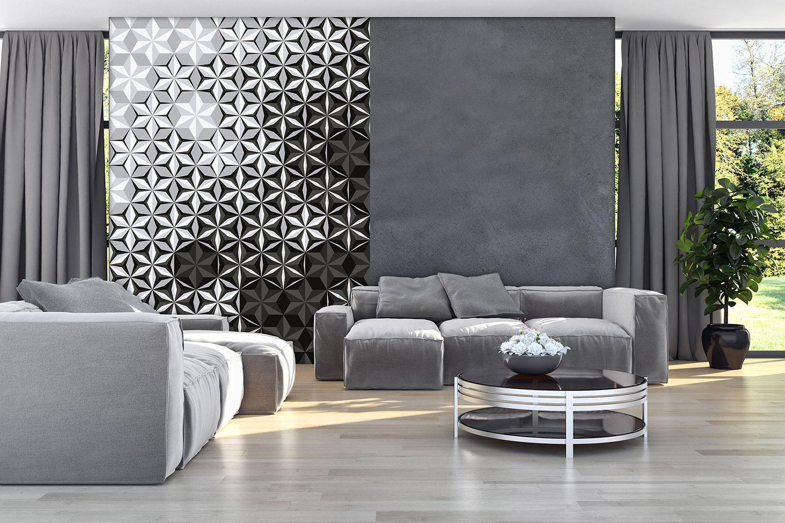 Gray concrete imitating wallpaper
