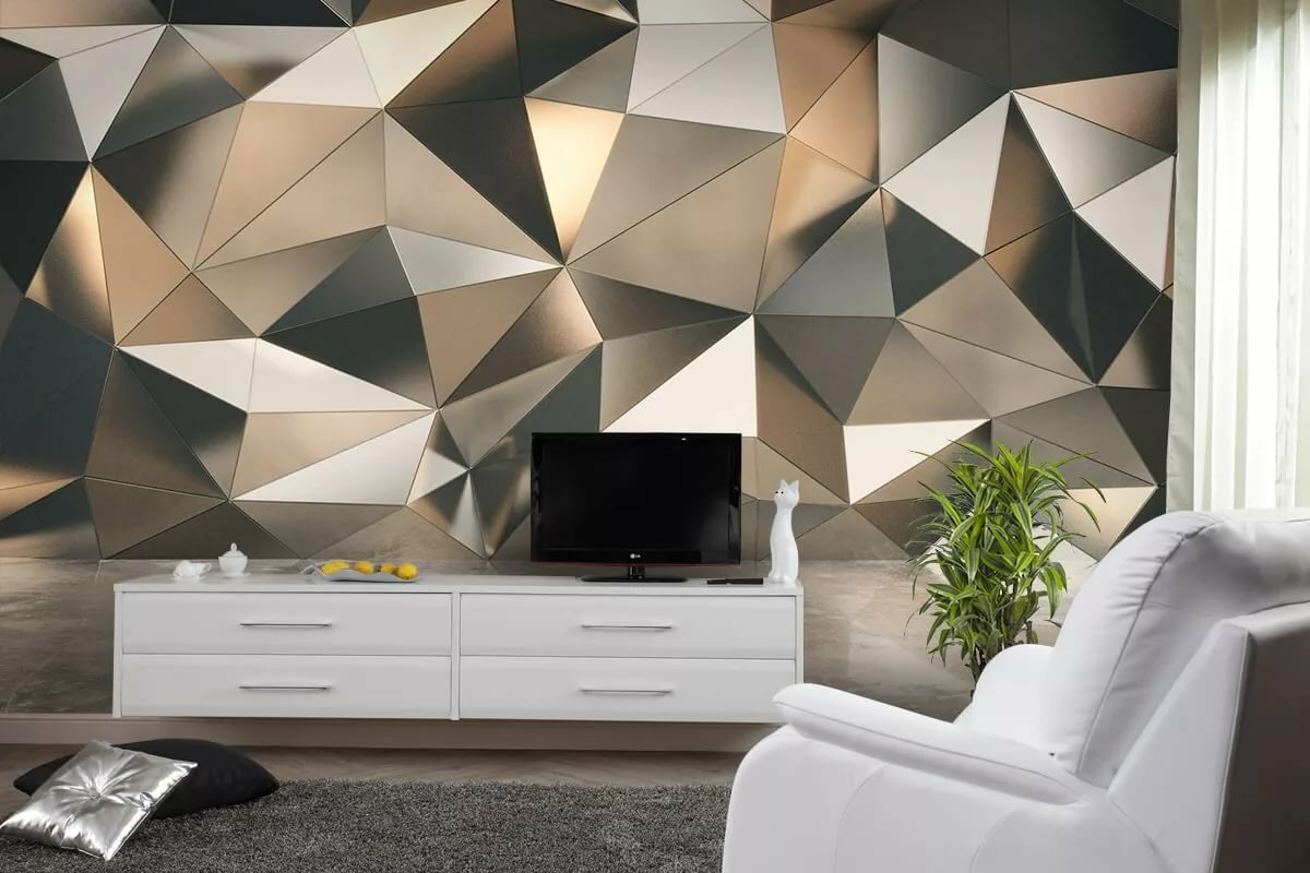 Peculiar and enigmatic design of the photo wallpaper in the living room with chaotic triangles