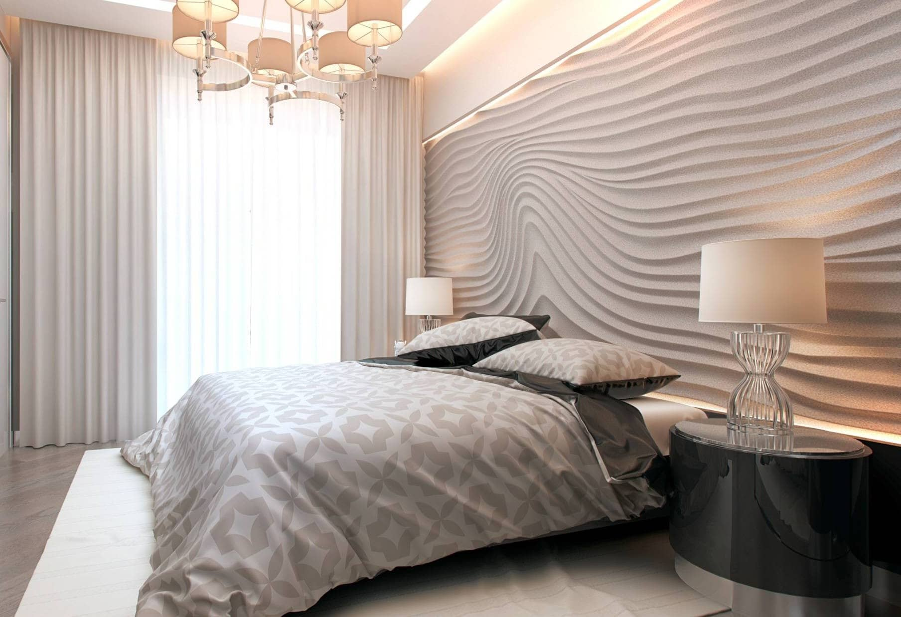 Wallpaper Design Ideas 2020 to Make Interior Elegant. 3D gypsum panelled headboard wall for Contemporary styled bedroom