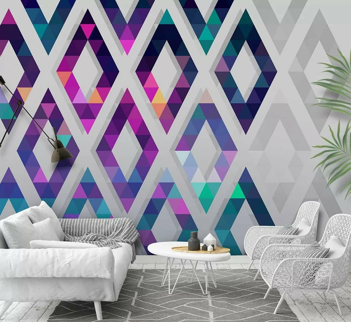 Wallpaper Design Ideas 2020 to Make Interior Elegant. Stylish colorful rhombs