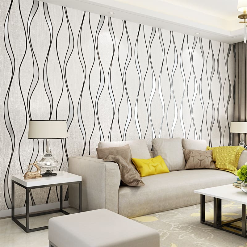 Wallpaper Design Ideas 2020 to Make Interior Elegant. Skillful designed white and black pattern for modern styled living room