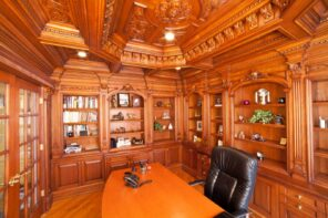 Four Simple Woodworking Tips for Winter 2020. Classic English home office full of carving of noble wood
