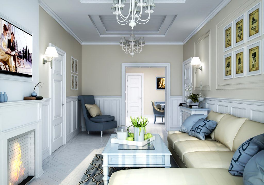 Walk-Through Living Room: Interior Design and Space Zoning. Simple classic design of small area with light brown painted walls
