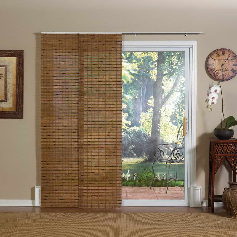 Bamboo woven matting to shadow the door frame