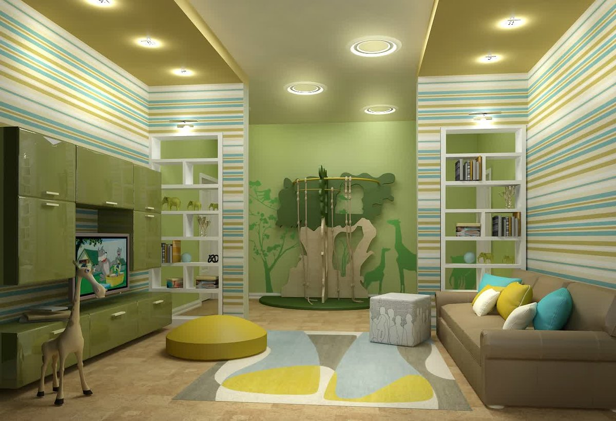 Nicely decorated pass-through children's room in green and olive colors