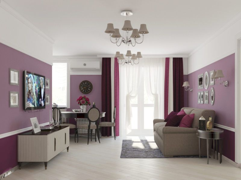 Lilac Colored Living Room: Fresh Design Ideas. Simple designed room with personal working zone