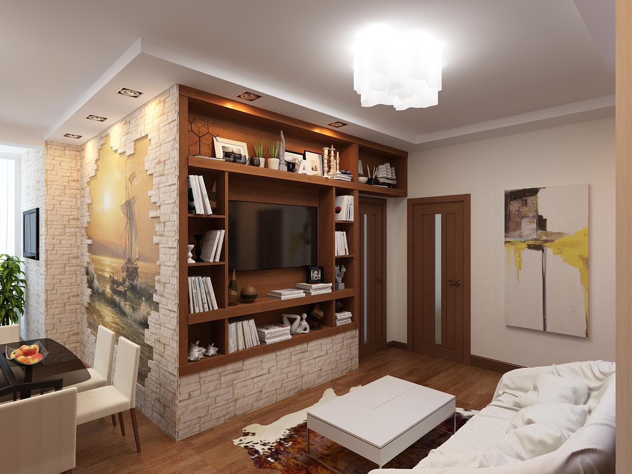 Bookshelf zoning method of he small studio with walk through living zone