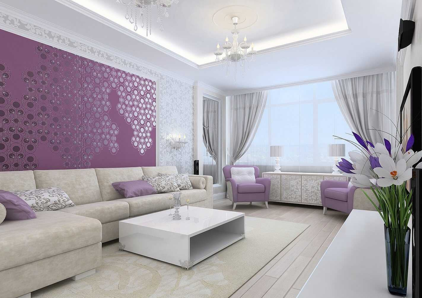 Lilac Colored Living Room: Fresh Design Ideas. Modern designed room with carpet and low coffee table