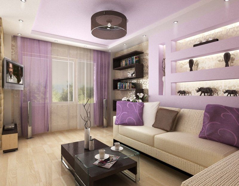 Purple tulle and lilac walls