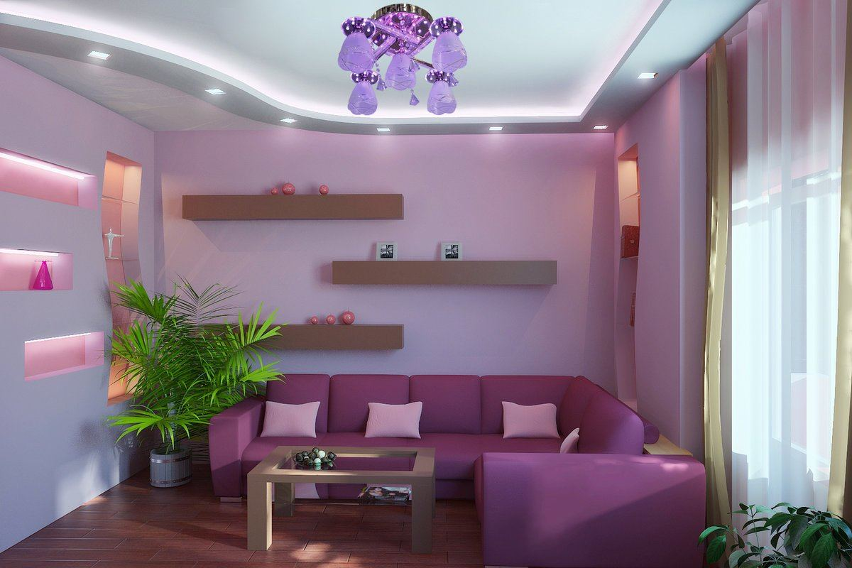 Lilac Colored Living Room: Fresh Design Ideas. Casual modern styled room with angular sofa