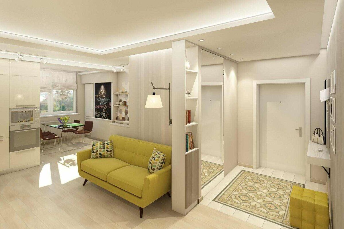 Walk-Through Living Room: Interior Design and Space Zoning. Successful mix of zones for casual styled light colored room
