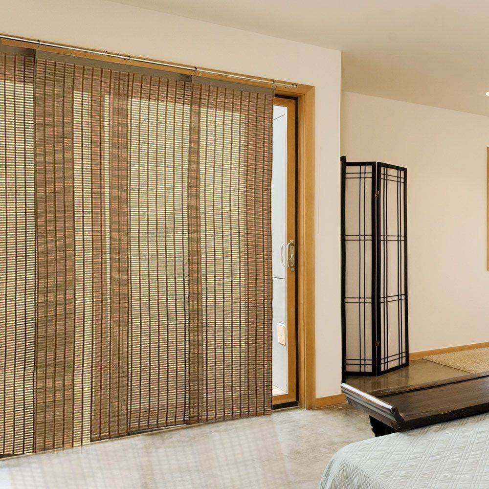 Woven interior curtain in the form of sliding mats on the rod