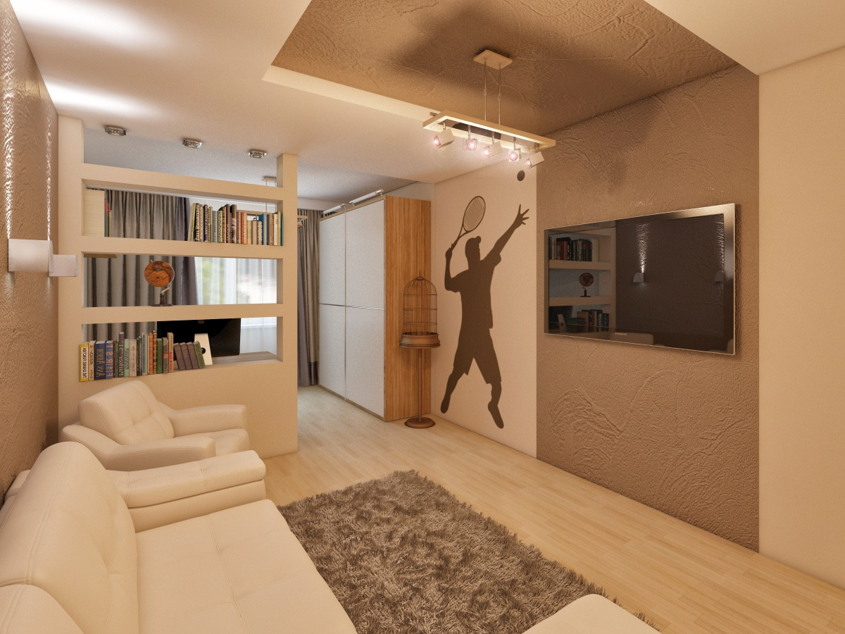 Walk-Through Living Room: Interior Design and Space Zoning. Sporty directed modern room with bookshelf zoning